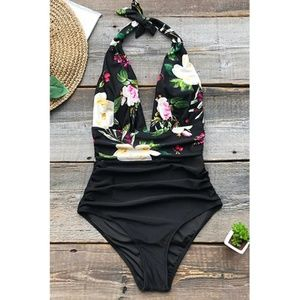Cupshe | Black Floral Halter One Piece Swimsuit